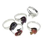 Finger smalt Mood Ring, Tunxh, Shape përziera, ngjyrë platin praruar, humor smalt, asnjë, , nikel çojë \x26amp; kadmium falas, 10-19mm, :6.5, 100PC/Kuti,  Kuti