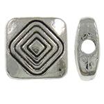 Beads aliazh zink Flat, Drejtkëndësh, Ngjyra antike argjendi praruar, asnjë, asnjë, , nikel çojë \x26amp; kadmium falas, 8.50x9x3.50mm, : 1.5mm, 1000PC/KG,  KG