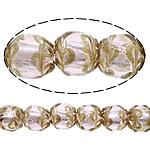 Sand Gold \x26amp; Silver Lampwork petë, Round, asnjë, rërë ari dhe argjendi me letër varaku, asnjë, 15mm, : 2mm, :10Inç, 5Fillesat/Shumë,  Shumë