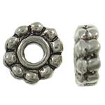 Beads Zink Alloy Spacer, Alloy zink, Lule, Ngjyra antike argjendi praruar, asnjë, asnjë, , nikel çojë \x26amp; kadmium falas, 7x7x2.50mm, : 1.5mm, 2170PC/KG,  KG