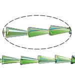 Cone Beads Crystal, Kristal, Kon, gjysmë-kromuar, asnjë, Gjelbër fier, 8x16mm, :15Inç, 10Fillesat/Shumë,  Shumë