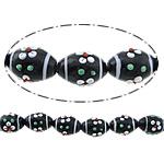 Beads Lampwork me gunga, Oval, asnjë, e zezë, 20x15mm, : 2mm, :11Inç, 10Fillesat/Shumë,  Shumë