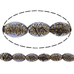 Inner Beads Lampwork Twist, Oval, asnjë, kthesë brendshme, vjollcë, 16x11mm, : 2mm, :11Inç, 5Fillesat/Shumë,  Shumë