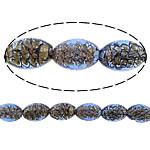 Inner Beads Lampwork Twist, Oval, asnjë, kthesë brendshme, blu, 16x11mm, : 2mm, :11Inç, 5Fillesat/Shumë,  Shumë