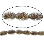 Inner Beads Lampwork Twist, Oval, asnjë, kthesë brendshme, e bardhë, 16x11mm, : 2mm, :11Inç, 5Fillesat/Shumë,  Shumë