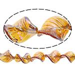 Beads praruar Lampwork, Gjethe, colorful kromuar, asnjë, portokall, 33x25x8mm, : 3mm, :11Inç, 2Fillesat/Shumë,  Shumë