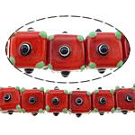 Beads Lampwork me gunga, Kub, asnjë, i kuq, 12x16x16mm, : 2mm, :10Inç, 5Fillesat/Shumë,  Shumë