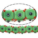 Beads Lampwork me gunga, Kub, asnjë, e gjelbër, 12x16x16mm, : 2mm, :10Inç, 5Fillesat/Shumë,  Shumë