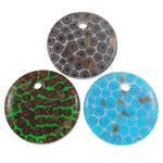 Lampwork Millefiori Fetë Pendants, Monedhë, punuar me dorë, me fetë Millefiori, ngjyra të përziera, 45x7mm, : 5mm, 50PC/Qese,  Qese