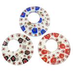 Lampwork Millefiori Fetë Pendants, Petull e ëmbël në formë gjevreku, punuar me dorë, me fetë Millefiori, ngjyra të përziera, 45x45x7mm, : 17mm, 50PC/Qese,  Qese