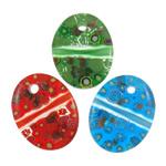 Lampwork Millefiori Fetë Pendants, Oval Flat, punuar me dorë, me fetë Millefiori, ngjyra të përziera, 39x50x8mm, : 3mm, 50PC/Qese,  Qese