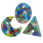 Lampwork Millefiori Fetë Pendants, Shape përziera, punuar me dorë, me fetë Millefiori, ngjyra të përziera, 38-41mm, : 5mm, 50PC/Qese,  Qese