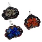 Pendants Inner Lampwork Lule, punuar me dorë, lule e brendshme, ngjyra të përziera, 36x30x10mm, : 4x3mm, 12PC/Kuti,  Kuti
