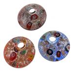 Lampwork Millefiori Fetë Pendants, Round Flat, punuar me dorë, me fetë Millefiori, ngjyra të përziera, 43x10mm, : 9mm, 12PC/Kuti,  Kuti