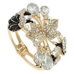 Zink Alloy kyç i dorës bizhuteri, Alloy zink, Lule, ngjyrë ari praruar, me diamant i rremë, asnjë, , nikel çojë \x26amp; kadmium falas, 72x70x75mm, : 7Inç, 5PC/Qese,  Qese