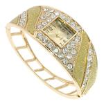 Byzylyk Moda Rights Watch, Alloy zink, Shape Tjera, ngjyrë ari praruar, me diamant i rremë, asnjë, , nikel çojë \x26amp; kadmium falas, 72x57x30mm, : 7.5Inç, 5PC/Qese,  Qese