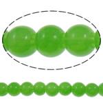 Glass Beads Moda, Round, asnjë, ngjyra të forta, mollë jeshile, 6mm, : 1.5mm, : 31.5Inç, 10Fillesat/Qese,  Qese
