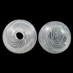 Beads lulëzim Lampwork, Oval, fryj, shirit, e bardhë, 12.5x11.5mm, : 2.5x3.5mm, 100PC/Qese,  Qese