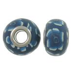 European Beads bizhuteri Polimer balta, Polymer Clay, Rondelle, asnjë, core bronzi të dyfishtë pa karrem & vrimë e madhe, blu, 15x10.5mm, : 5mm, 100PC/Qese,  Qese