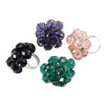 Ring Finger Crystal, Hekur, with Kristal, Shape Tjera, ngjyrë platin praruar, colorful kromuar, ngjyra të përziera, , nikel çojë \x26amp; kadmium falas, 41x36x35mm, :7.5, 50PC/Kuti,  Kuti