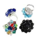 Ring Finger Crystal, Hekur, with Kristal & Alumin, Shape Tjera, ngjyrë platin praruar, colorful kromuar & asnjë, ngjyra të përziera, , nikel çojë \x26amp; kadmium falas, 31x36x32mm, : 0.8mm, :7.5, 50PC/Kuti,  Kuti