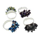 Ring Finger Crystal, Hekur, with Kristal, Shape Tjera, ngjyrë platin praruar, colorful kromuar, ngjyra të përziera, , nikel çojë \x26amp; kadmium falas, 19x30x18mm, :7.5, 100PC/Kuti,  Kuti