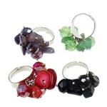 Ring Finger Crystal, Hekur, with Gur i çmuar & Kristal, Shape Tjera, ngjyrë platin praruar, colorful kromuar, ngjyra të përziera, , nikel çojë \x26amp; kadmium falas, 30x33x20mm, :7.5, 100PC/Kuti,  Kuti