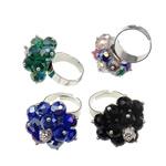 Ring Finger Crystal, Hekur, with Kristal & Tunxh, Shape Tjera, ngjyrë platin praruar, colorful kromuar & me diamant i rremë, ngjyra të përziera, , nikel çojë \x26amp; kadmium falas, 28x36x28mm, :7.5, 50PC/Kuti,  Kuti
