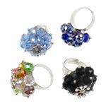 Ring Finger Crystal, Hekur, Shape Tjera, ngjyrë platin praruar, colorful kromuar & me diamant i rremë, ngjyra të përziera, , nikel çojë \x26amp; kadmium falas, 28x33x28mm, :7.5, 50PC/Kuti,  Kuti