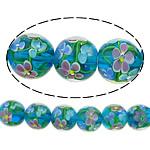 Beads dorë Lampwork, Round, asnjë, asnjë, blu, 14mm, : 2mm, :10Inç, 5Fillesat/Shumë,  Shumë