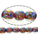 Beads dorë Lampwork, Round, asnjë, asnjë, 14mm, : 2mm, :10Inç, 5Fillesat/Shumë,  Shumë