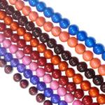 Glass Beads Drawbench, Round, i praruar, ngjyra të përziera, 8mm, : 1mm, : 14.8Inç, 10Fillesat/Qese,  Qese