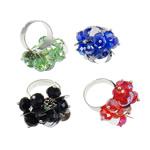 Ring Finger Crystal, Hekur, Shape Tjera, ngjyrë platin praruar, asnjë, ngjyra të përziera, , nikel çojë \x26amp; kadmium falas, 29x33x23mm, :7.5, 50PC/Kuti,  Kuti