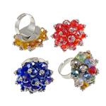Ring Finger Crystal, Hekur, Shape Tjera, ngjyrë platin praruar, asnjë, ngjyra të përziera, , nikel çojë \x26amp; kadmium falas, 31x37x31mm, :7.5, 50PC/Kuti,  Kuti