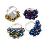 Ring Finger Crystal, Hekur, with Kristal, Shape Tjera, ngjyrë platin praruar, colorful kromuar, ngjyra të përziera, , nikel çojë \x26amp; kadmium falas, 32x30x20mm, :7.5, 50PC/Kuti,  Kuti