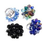 Ring Finger Crystal, Hekur, Shape Tjera, ngjyrë platin praruar, asnjë, ngjyra të përziera, , nikel çojë \x26amp; kadmium falas, 37x39.50x37mm, :9, 50PC/Kuti,  Kuti