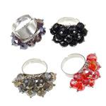 Ring Finger Crystal, Hekur, Shape Tjera, ngjyrë platin praruar, asnjë, ngjyra të përziera, , nikel çojë \x26amp; kadmium falas, 34x31x21mm, :7.5, 50PC/Kuti,  Kuti