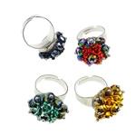 Ring Finger Crystal, Hekur, with Kristal & Alumin, Shape Tjera, ngjyrë platin praruar, colorful kromuar, ngjyra të përziera, , nikel çojë \x26amp; kadmium falas, 23x34x23mm, :7.5, 100PC/Kuti,  Kuti