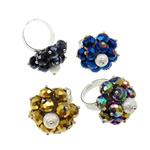 Ring Finger Crystal, Hekur, with Kristal & Tunxh, Shape Tjera, ngjyrë platin praruar, colorful kromuar & i mbuluar me brymë, ngjyra të përziera, , nikel çojë \x26amp; kadmium falas, 27x37.50x26mm, :9, 50PC/Kuti,  Kuti