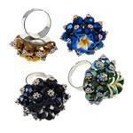 Ring Finger Crystal, Hekur, with Polymer Clay & Kristal, Shape Tjera, ngjyrë platin praruar, colorful kromuar, ngjyra të përziera, , nikel çojë \x26amp; kadmium falas, 33x38x33mm, :9, 50PC/Kuti,  Kuti
