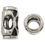 Beads Zink Alloy Tube, Alloy zink, Ngjyra antike argjendi praruar, i uritur, asnjë, , nikel çojë \x26amp; kadmium falas, 7.50x7.50x13.50mm, : 4.5mm, 905PC/KG,  KG