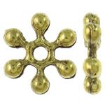 Beads Zink Alloy Spacer, Alloy zink, Flok dëbore, Ngjyra antike ari praruar, asnjë, asnjë, , nikel çojë \x26amp; kadmium falas, 10x2mm, : 1.5mm, 3070PC/KG,  KG