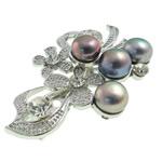 Pearl ujërave të ëmbla karficë, Pearl kulturuar ujërave të ëmbla, with Tunxh, Lule, e zezë, 31x52x16mm,  PC
