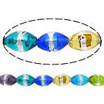 Petë Silver Beads Lampwork, Oval, asnjë, petë argjendi, multi-colored, 15x11mm, : 2mm, : 11Inç, 5Fillesat/Shumë,  Shumë