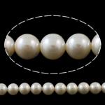 Round Beads kulturuar Pearl ujërave të ëmbla, Pearl kulturuar ujërave të ëmbla, natyror, e bardhë, 9-10mm, : 0.8-1mm, : 15.3Inç,  15.3Inç,