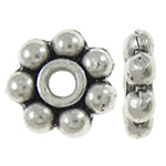 Beads Zink Alloy Spacer, Alloy zink, Lule, Ngjyra antike argjendi praruar, asnjë, asnjë, , nikel çojë \x26amp; kadmium falas, 7x7x2mm, : 1.5mm, 5000PC/KG,  KG