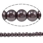 Einbrennlack Glasperlen, Glas, rund, dunkle Kaffee-Farbe, 4mm, Bohrung:ca. 1mm, Länge:ca. 32 ZollInch, 10SträngeStrang/Tasche, verkauft von Tasche