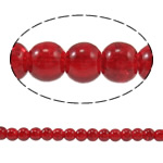Glass Beads Moda, Xham, Round, i lyer, asnjë, kuqe të gjakut, 4mm, : 1mm, : 31.4Inç, 10Fillesat/Qese,  Qese