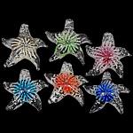 Pendants Inner Lampwork Lule, Yll deti, asnjë, lule e brendshme, ngjyra të përziera, 44-49x45-51x12mm, : 8mm, 20PC/Shumë,  Shumë