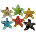 Lampwork Millefiori Fetë Pendants, Yll deti, asnjë, me fetë Millefiori, ngjyra të përziera, 56x55x11.50mm, : 8mm, 20PC/Shumë,  Shumë